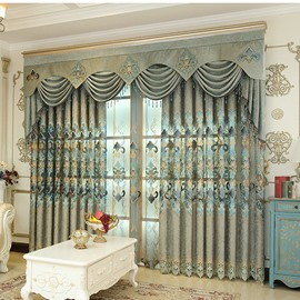 Decorative Polyester Embroidered Luxury European Style Beautiful Curtain