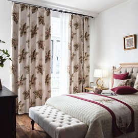 Classic Fashion Style Large Florals Printed Curtain For Bedroom or Sitting Room