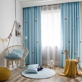 Light Blue Cute White Bear High Quality Interesting Polka Dots Curtain For Kids