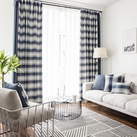 Simple Blue And White Plaid Easy Life Bedroom Curtains