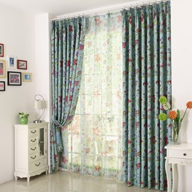 Printed Florals Polyester Curtain For Bedroom or Sitting Room