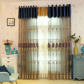 Embroidery Elegant Beige Sheer Curtains Grommet Top For Livin'room