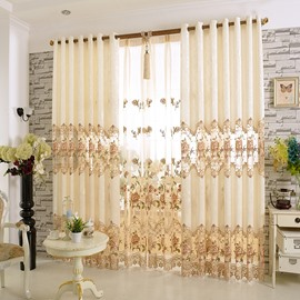 Europe Type Elegant Sitting Room Hand-made Embroider Curtain