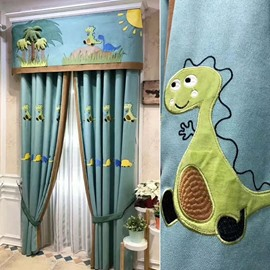 Little Dinosaur Cartoon Eco-friendly Solid Curtains For Bedroom
