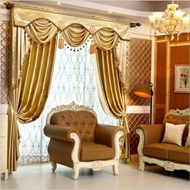 Plain Drape Pure Golden Color Decorative Curtain for Bedroom