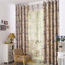 Chinese Painting Embroidered Beige Curtain Decorative Flower Drapes