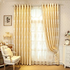 Decorative Embroidery Drapes Polyester Curtain Beige and Green