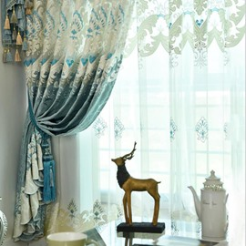 Tufting Hand-made Embroidery Green Curtains Drapes for Home