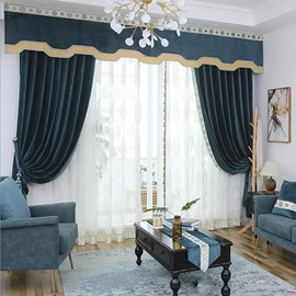 Lake Blue Plain Design Flocking Suede Curtains for Home