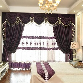 Ball Pendant Decoration Pure Color Flocking Suede Curtains Drapes