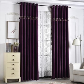 Pure Purple Elegant Embroidered Edge Curtains Custom Drapes