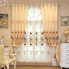 Gold Floral Embroidery Red Heart Shaped Soft Curtain Grommet Drapes