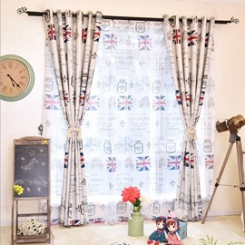 England Flag Printed Cartoon Kids Bedroom Curtain Blackout