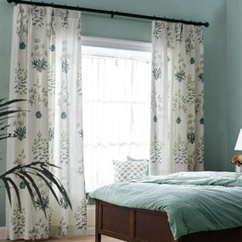 Green Plants and Leaves Pattern White Curtain Bedroom Drapes