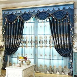 Luxury Embroidery Drapes European Style Old Navy Blue Custom Blackout 2 Panels Shading Curtains