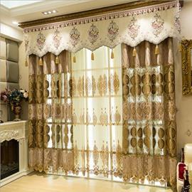 European Style Dark Gold Embroidery Bottom Custom Living Room Curtain