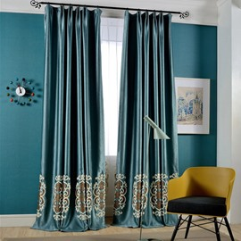 Embroidery Bottom Lake Blue Plain Design Curtain for Bedroom