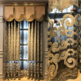 Classic Royal Style Curtain Embroidery Floral Pattern Dark Brown Drapes