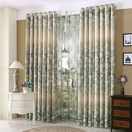 Pastoral Floral Blue and Beige Grommet Top Bedroom Curtain