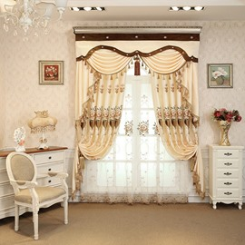 Floral Embroidery Beige Silk-Feeling Simple Style Drapes 2 Panels