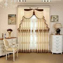 Royal Design Embroidery Beige Drapes Grommet 2 Panels for Living Room