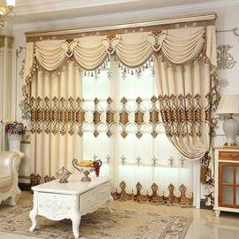 European Embroidery Blackout Curtains Drapes 2 Panels Grommet Curtains for Living Room Bedroom No Pilling No Fading No off-lining
