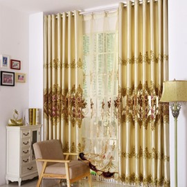Floral Curtain Hand-made Embroidery Smooth Drapes Blackout Curtain
