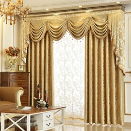 European Pure Gold Shading Curtains for Living Room Bedroom Decoration Custom 2 Panels Drapes No Pilling No Fading No off-lining Shading Rate 80%