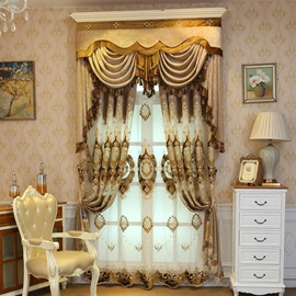 Classic Royal Design Embroidery Drapes Grommet 2 Panels for Living Room