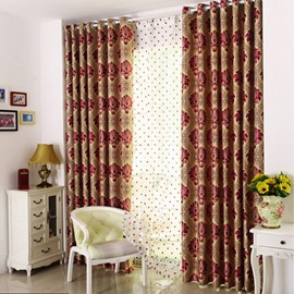 Gold Floral Embroidery Soft Curtain Grommet Drapes