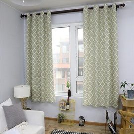 Shading Simple Design Diamond Printed Grommet Top Custom Curtain