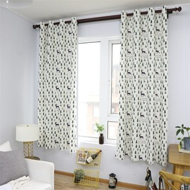 Blackout Fawn Printed Grommet Top Custom Curtain