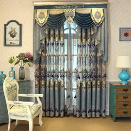 Luxury Embroidered Blackout Elegant Living Room Curtains