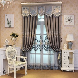Blackout Luxury Embroidered Living Room Curtain