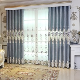 Blackout High Quality Chenille Hollowed-out Luxury Living Room Curtain