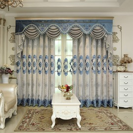 Classic Embroidery Royal Design Drapes Grommet 2 Panels for Living Room