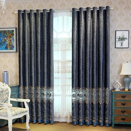 Pure Blue Simple Curtain Print Shading Cloth for Living Room