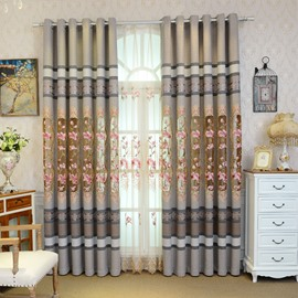 Pastoral Decoration Embroidery Drapes 2 Panels Curtain