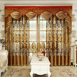Royal Design Embroidery Brown Drapes Grommet 2 Panels for Living Room