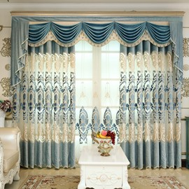 Royal Design Embroidery Light Blue Drapes Grommet 2 Panels for Living Room