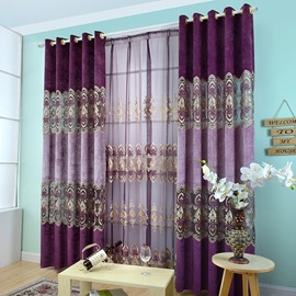 Decoration Polyester Cotton Deep Purple Floral Shading Cloth Curtain