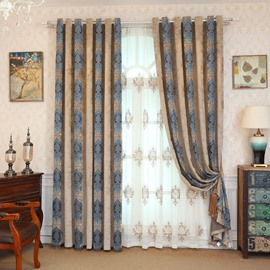 Blackout and Decoration Classic Embroidered Grommet Top Curtain
