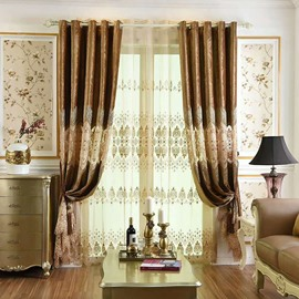 Decoration European Style Coffee Color Luxury Embroidery Custom Grommet Top Curtain