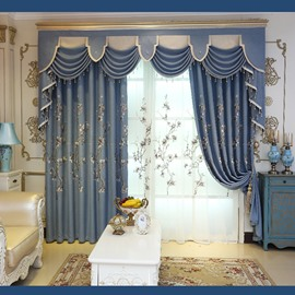 Decoration and Blackout Fresh Style Floral Embroidery Custom Living Room Curtain