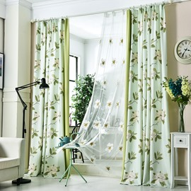 Decoration and Blackout Green Fresh Style Floral Custom Living Room Curtain