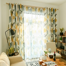 Blackout Fresh Style Leaf Custom Living Room Curtain