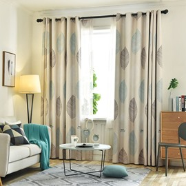 High Quality Blackout Modern Decoration Leaf Grommet Top Curtain