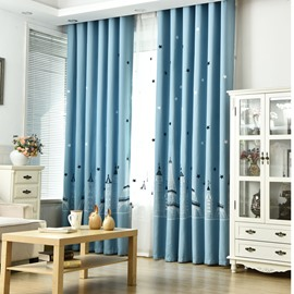 Classic Design Blue Curtain Smooth Drapes Blackout Curtain