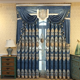 Elegant Embroidery Crushed Velvet Curtains Super Heavy and Soft Handy Feeling Eco-friendly Blocks Out Noise Reducing Privacy Protection and Energy Efficiency No Pilling No Fading No off-lining 84W 84L Inches
