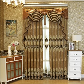 Embroidery Blackout and Decorative Contemporary Bedroom and Living Room Curtain